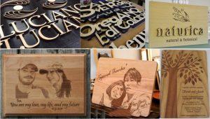Chữ, hình ảnh tạo ra từ máy khắc laser trên gỗ