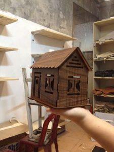 Mô hình ngôi nhà sử dụng máy khắc cắt gỗ