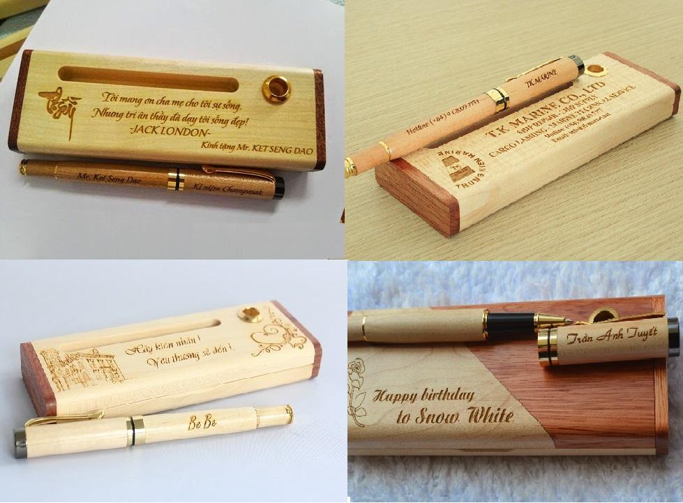 Bút gỗ sử dụng máy khắc gỗ laser