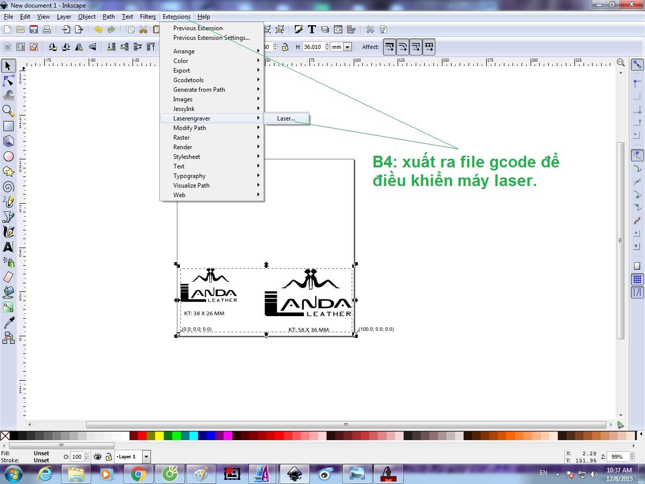 Hướng dẫn sử dụng phần mền inkscape tạo Gcode khắc laser