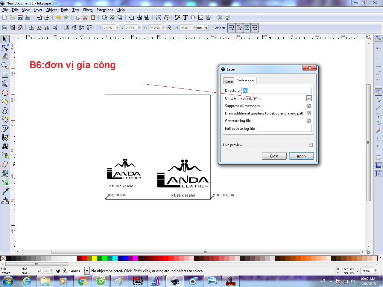 Hướng dẫn sử dụng phần mềm Inkscape để tạo gcode khi khắc laser